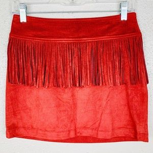 Express Fringe Suede Mini Skirt XS